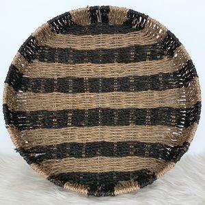 Round Black Tan Striped Boho Weave Basket Tray
